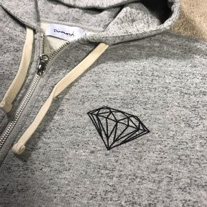 Diamond Supply Co Zip Hoodie Heather Grey Sz L
